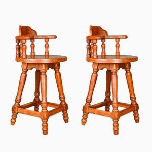 Sgabelli da bar girevoli in legno massiccio, set di 2