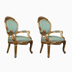 Antique Louis XV Revival Armchairs, 1900s, Set of 2
