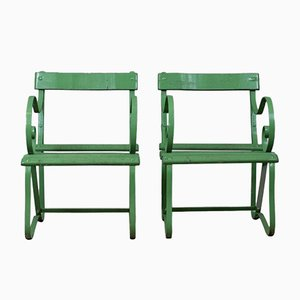 Antique Painted Green Iron Garden Chairs, Set of 2