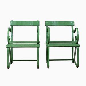 Sillas de jardín antiguas pintadas de hierro verde. Juego de 2