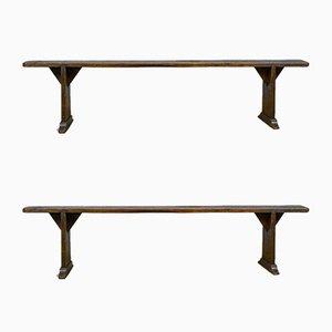 Antique English Oak Benches, 1900s, Set of 2