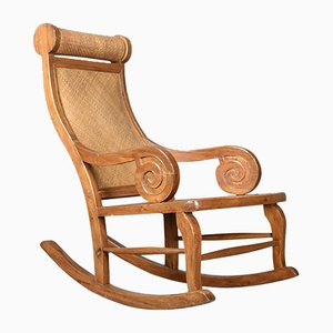 Mid-Century Hardwood & Rattan Rocking Chair, 1970s
