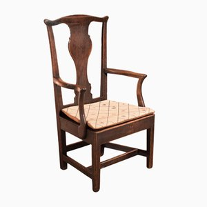 Georgian Open Oak Armchair, 1800s