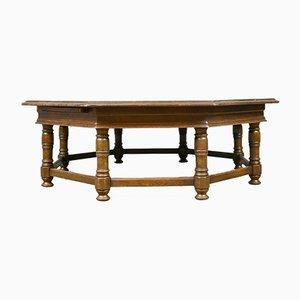 Large Octagonal Vintage Oak Coffee Table