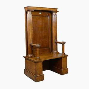 Large Antique Oak Throne Chair, 1910s