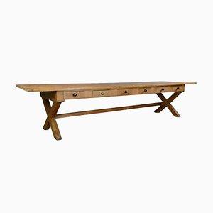 Großer antiker Speisesaal-Tisch aus Pinienholz, 1880er