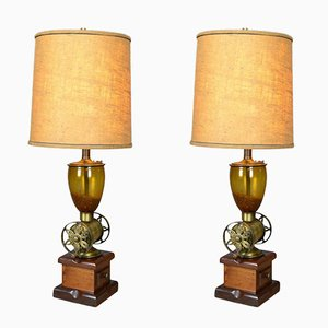 Late 20th Century Vintage Coffee Grinder Table Lamps, Set of 2