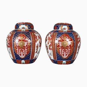Vintage Porcelain Imari Ginger Jars, Set of 2