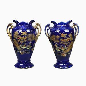 Blue Ceramic Baluster Vases, 1980s, Set of 2