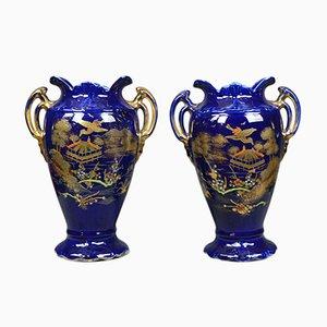 Vases Balustres en Céramique Bleus, années 80, Set de 2