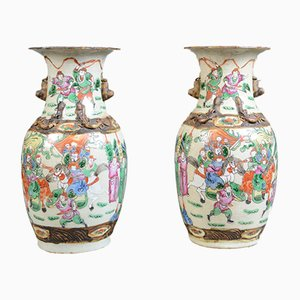 Mid-Century Chinese Ceramic Baluster Vases, Set of 2
