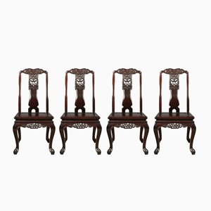 Antique Style Rosewood Dining Chairs, 1980s, Set of 4