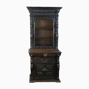 Tall Antique English Oak Display Cabinet, 1870s