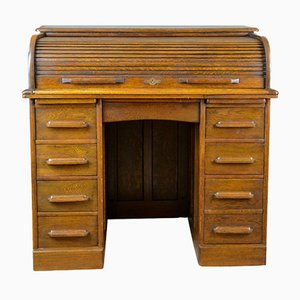 Small Antique Oak Roll Top Desk from William Angus and Co, 1910s