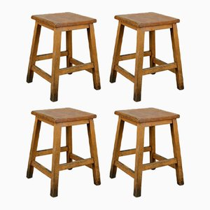 Vintage Beech Low Lab Stools, Set of 4