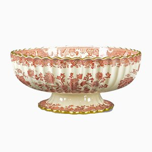Antique Footed Bowl in Red and White, 1900s