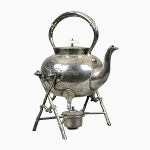 Antique Silver Plated Spirit Kettle on Stand