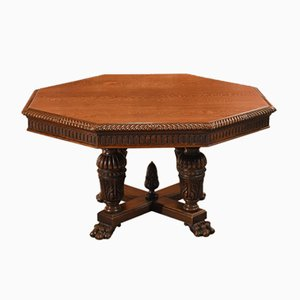 Victorian Oak Octagonal Dining Table, 1850s
