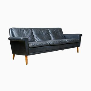 Vintage Danish Black Leather Sofa, 1970s