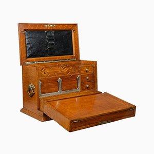 Victorian English Oak Campaign Writing Box, 1887