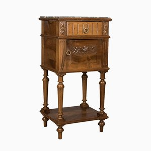Antique Marble & Walnut Pot Cupboard, 1900s