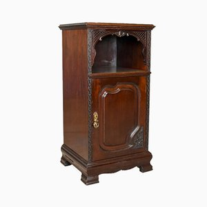 Antique English Carved Mahogany Bedside Cabinet, 1910s