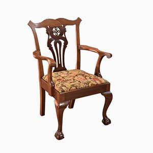 Antique Victorian Chippendale Revival Armchair, 1880s