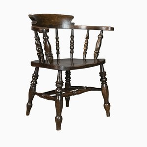 Antique English Victorian Elm Bow Back Armchair, 1900s