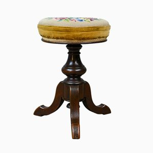 Antique Victorian Walnut Adjustable Piano Stool, 1880s