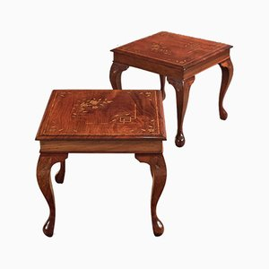 Mid-Century Inlaid Walnut Side Tables, Set of 2