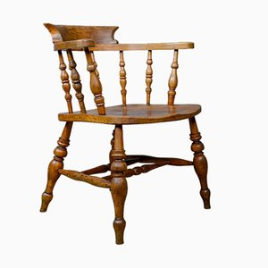 Antique Victorian English Bow-Back Elbow Chair, 1890s