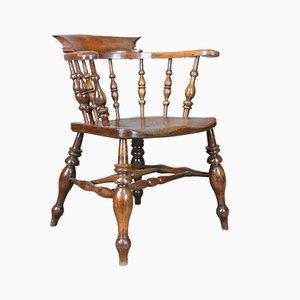 Antiker viktorianisch-englischer Bow Back Armlehnstuhl aus Ulmenholz, 1870er