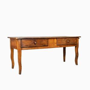 Mesa francesa antigua de madera de nudo de árbol frutal, década de 1800