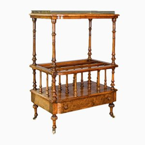 Antique English Burr Walnut Canterbury Table, 1830s