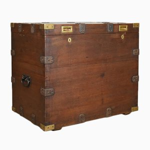 Antique Oak Campaign Chest