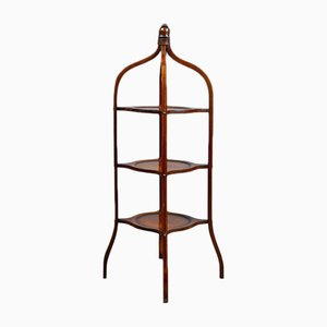 Antique Three-Tier Mahogany Cake Stand
