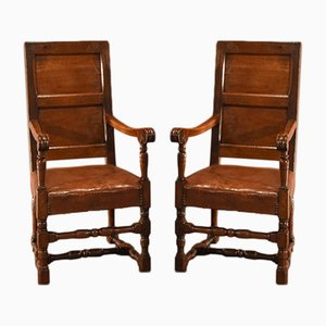 18th-Century Panel Back Armchairs, Set of 2