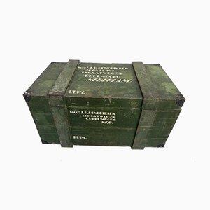 Arca militar vintage de roble, años 40