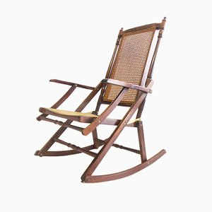 Rocking Chair Mid-Century Pliable en Rotin, 1950s