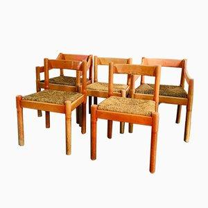 Vintage Carimate Stühle mit Gestell aus Buche von Vico Magistretti für Cassina, 5er Set