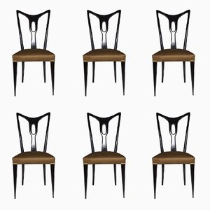 Vintage Italian Dining Chairs, 1940s, Set of 6