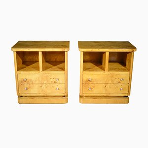 Art Deco French Maple Bedside Tables, 1930s, Set of 2