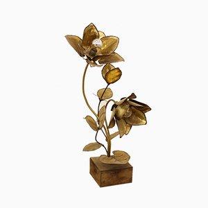 Lampada da tavolo floreale di Maison Jansen, anni '70