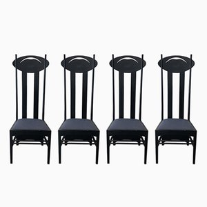 Argyle High-Backed Chairs by Charles Rennie Mackintosh for Cassina, 1980s, Set of 4