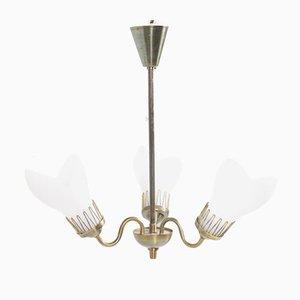 Lámpara de araña danesa Mid-Century de latón y vidrio de Fog & Mørup, años 50