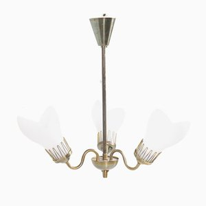 Mid-Century Danish Brass & Glass Chandelier from Fog & Mørup, 1950s