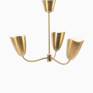 Lámpara de araña danesa Mid-Century de latón, años 50