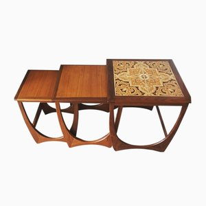 Fresco Teak & Tiled Nesting Tables by Victor Wilkins for G-Plan, 1970s