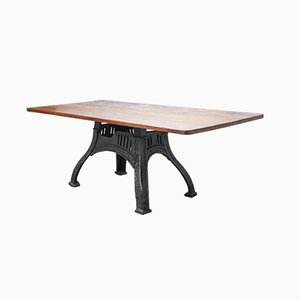 English Industrial Table with Solid Oak Top, 1940s