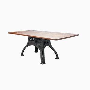 Tavolo industriale con ripiano in legno di quercia massiccio, Regno Unito, anni '40